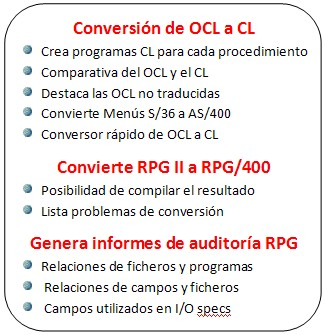 Conversion OCL a CL y de RPGII a RPG/400